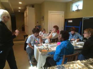 Karen Snow of Silk for All Seasons introduces the Garden Club to silk painting.