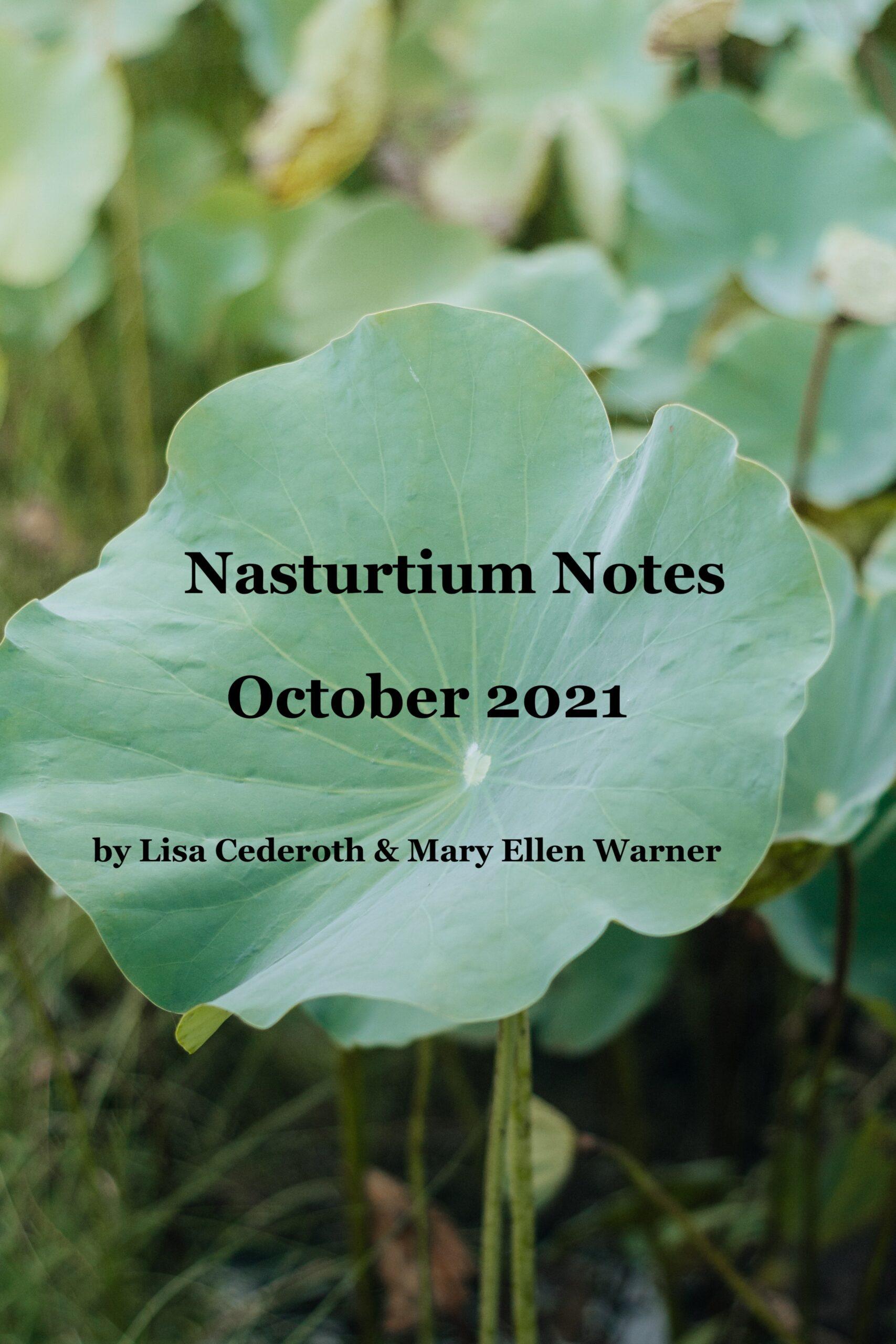Nasturtium Notes, October 2021